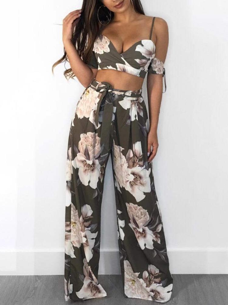 chicme / Floral Cami Top y pantalones de pierna ancha Set