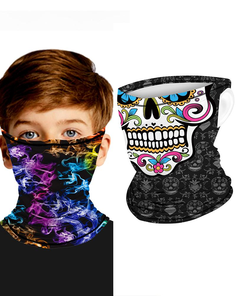 Skull Print Breathable Ear Loop FaceBandana Headwrap For Children фото