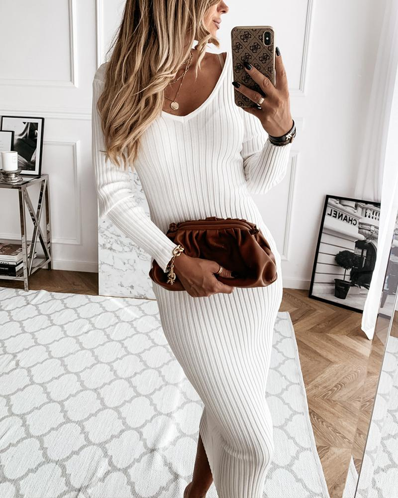 Solid Striped Embossing Long Sleeve Skinny Dresses фото
