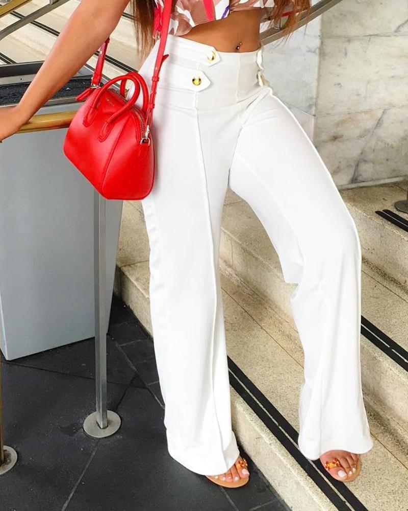 High Waist Button Design Wide Leg Pants фото