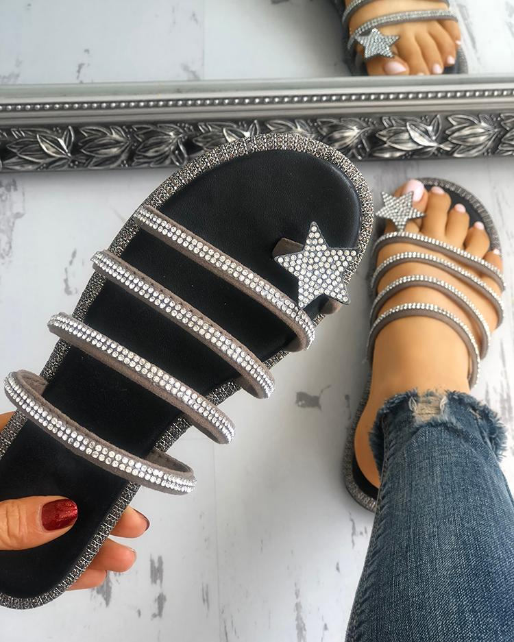 ivrose / Shiny Star Multi-strap Non-Slip Flat Sandals