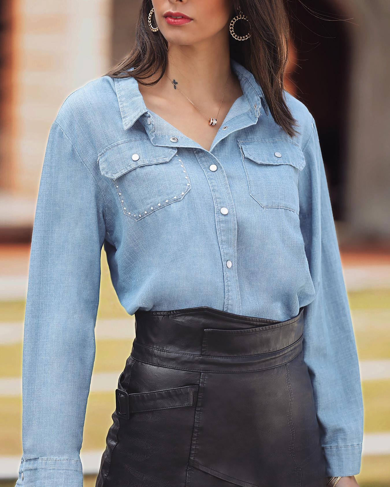 boutiquefeel / Denim Star Embroidery Button Up Blusa