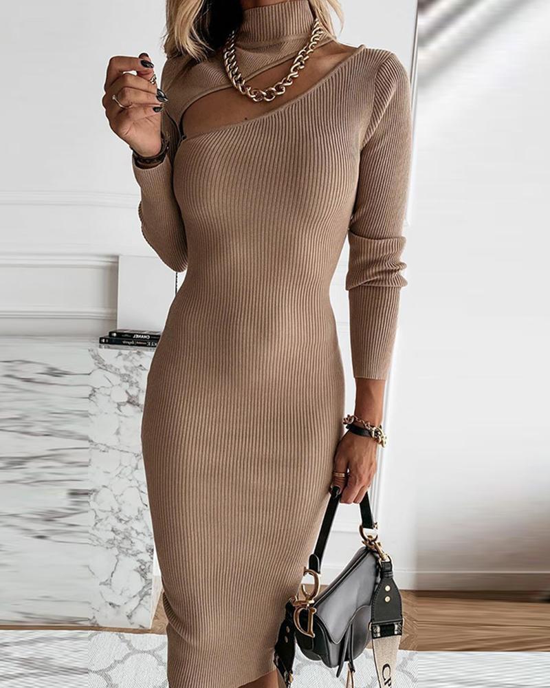 ivrose / Solid Long Sleeve Skinny Midi Dresses
