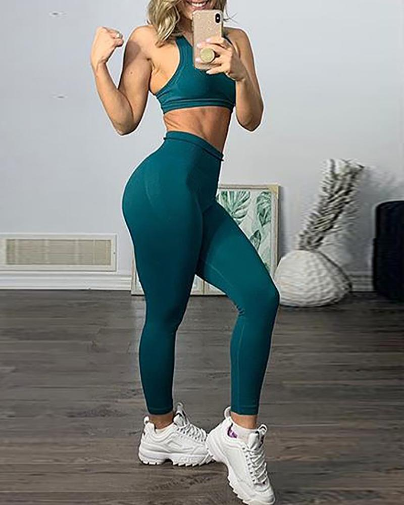 Fitness Yoga Crop Top and High Waisted Legging Set фото