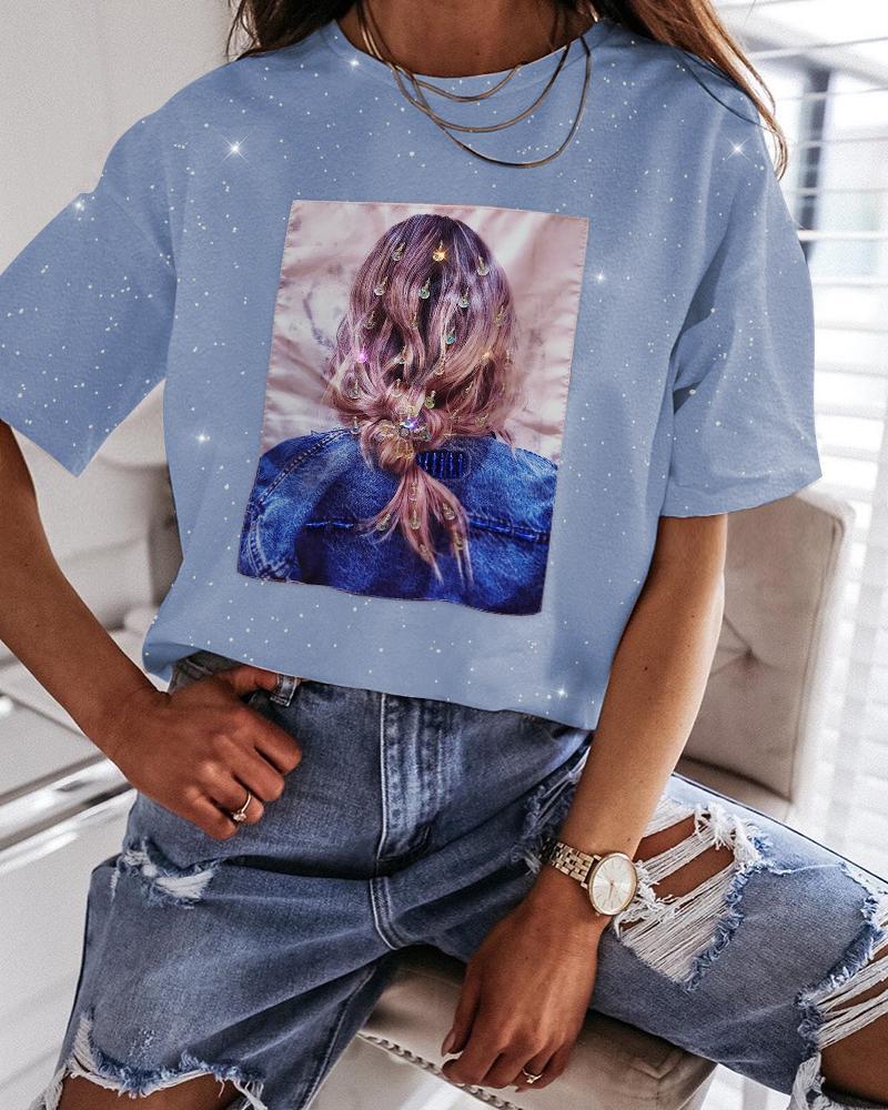 Print Glitter Beaded Casual T-shirt фото