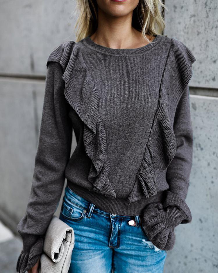 boutiquefeel / Blusa Casual Frilled Moda