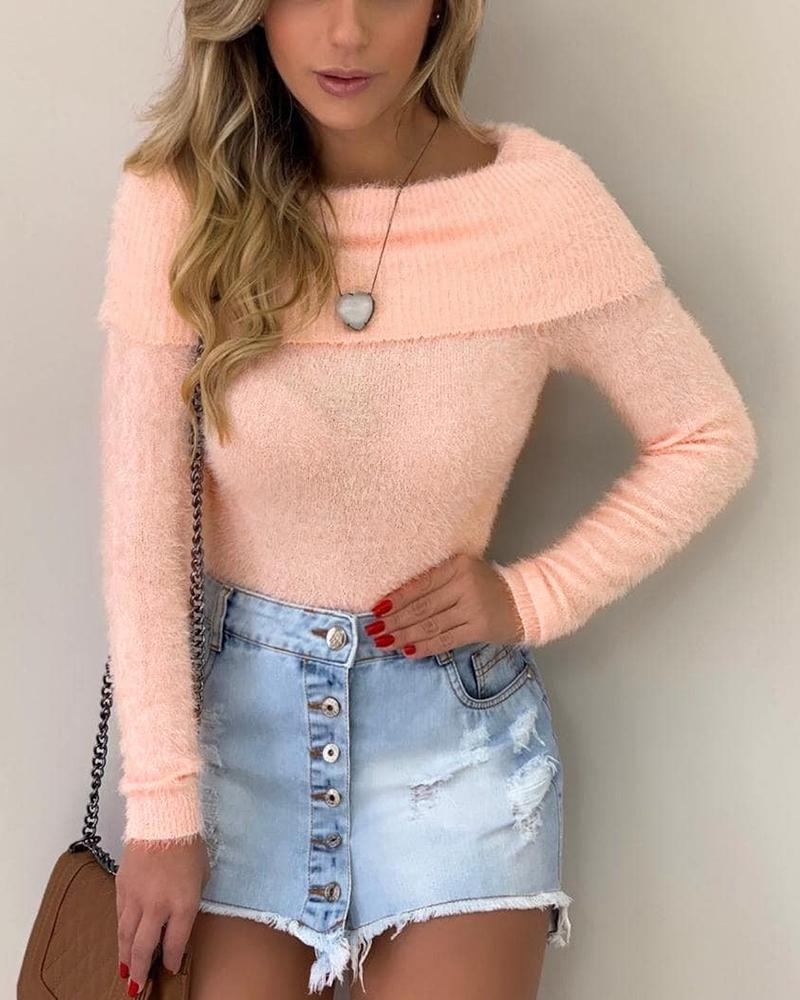 Solid Long Sleeve Fluffy Sweater фото