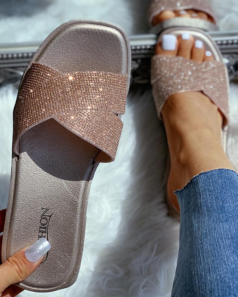 Open Toe Studded Flat Sandals фото