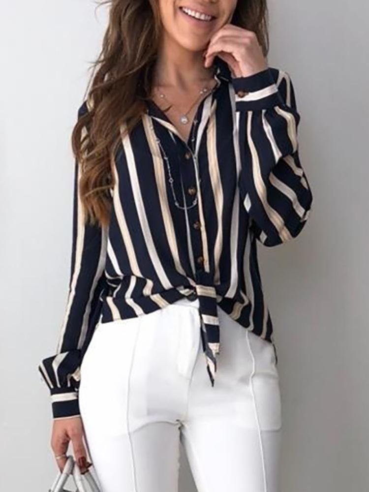 Contrast Stripes Button Up Knot Front Blouse, Purplish blue