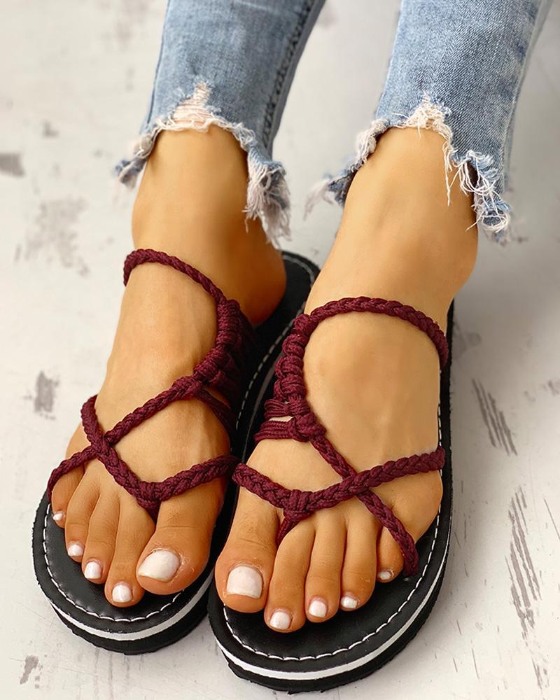 ivrose / Crisscross Trançado Strap Toe Post Sandals