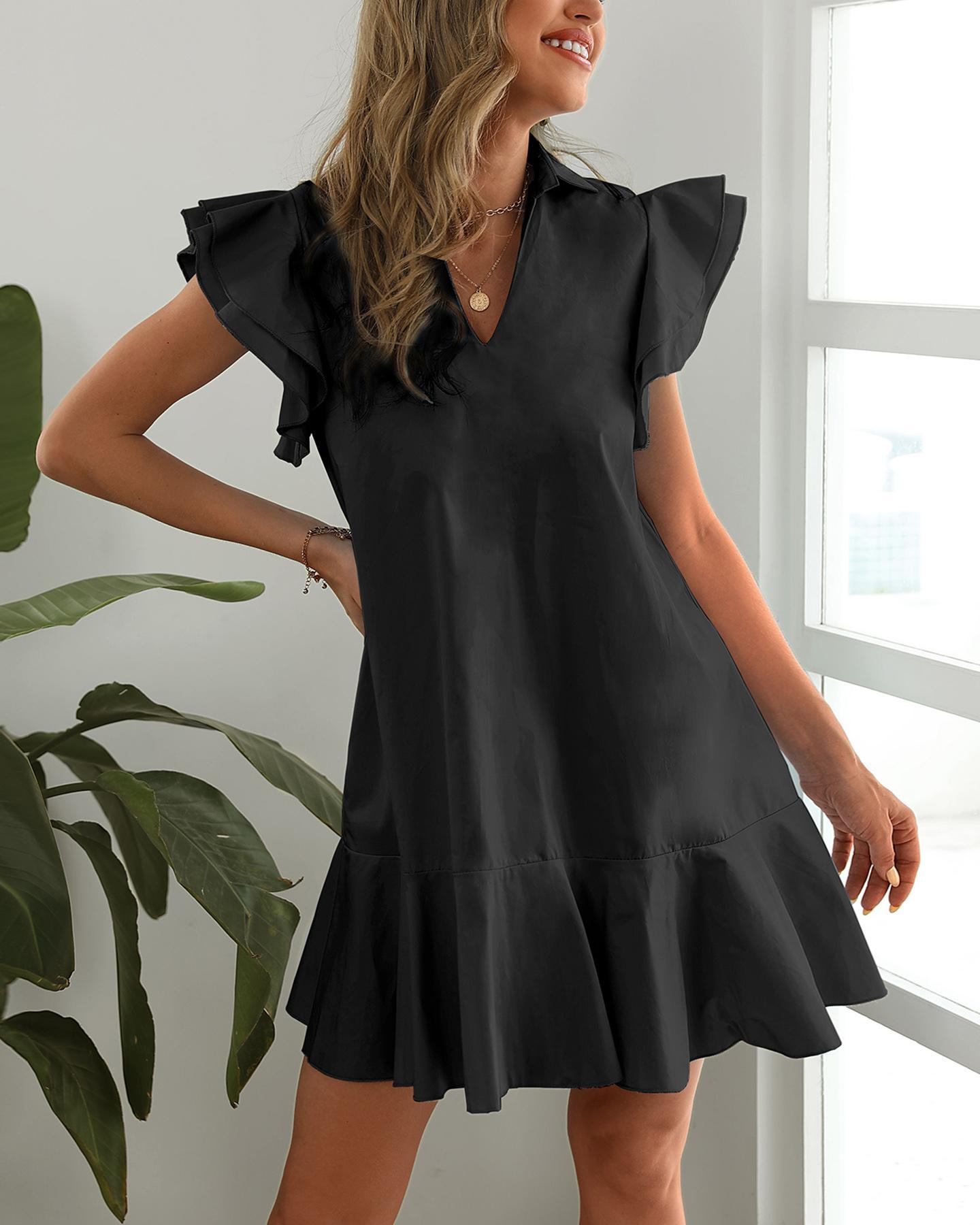 Flutter Sleeve Ruffle Trim Pockets Casual Dress фото