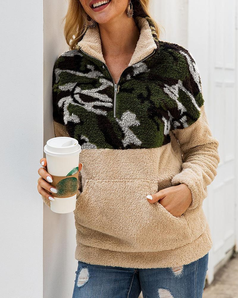 Camouflage Zipper Colorblock Insert Fluffy Sweatshirt фото