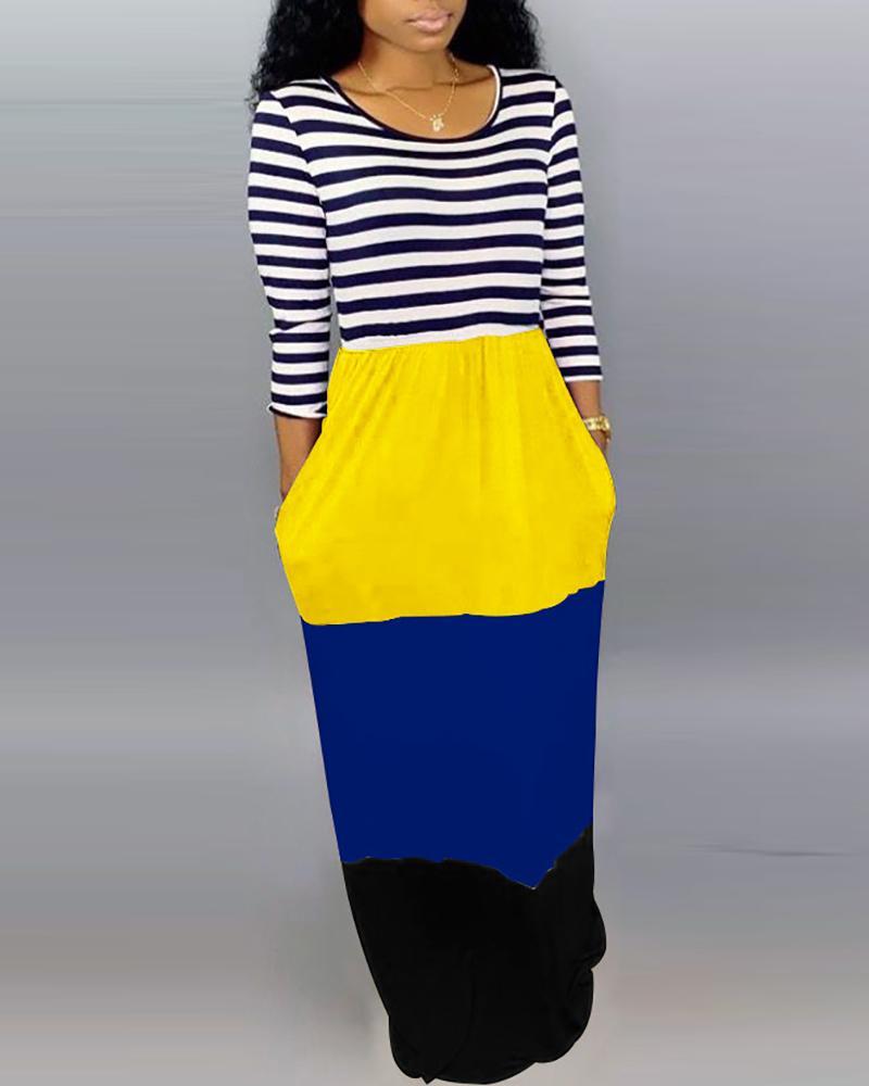 ivrose / Striped Color Block Insert Maxi Dress