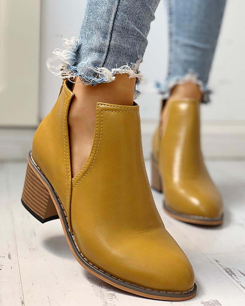 Solid PU Cut Out Design Chunky Heeled Boots, Yellow