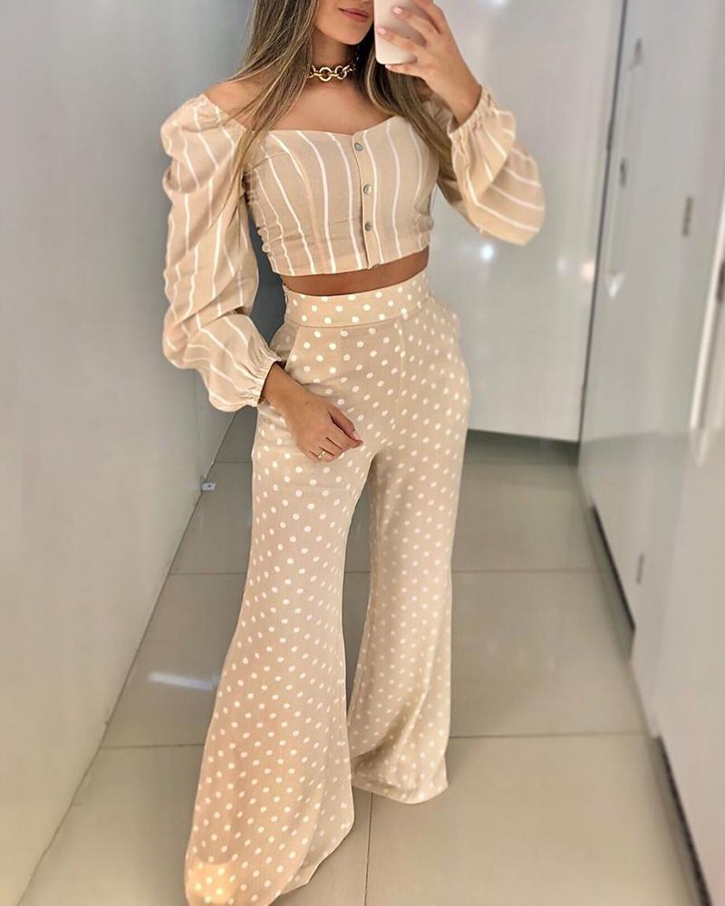 Puffed Sleeve Striped Top & Dot Print Pant Sets, Apricot
