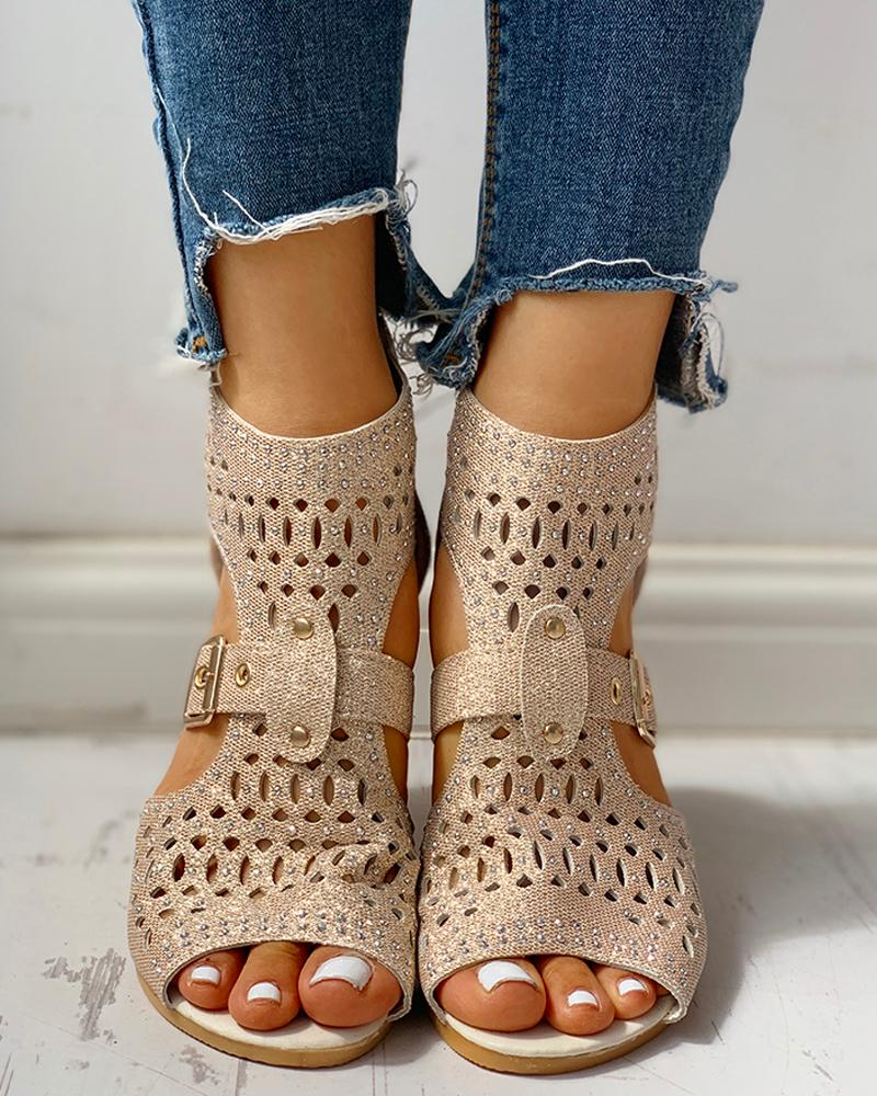 Studded Hollow Out Peep Toe Buckled Sandals фото