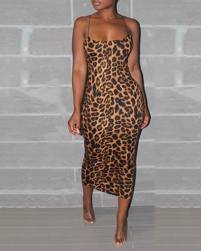 chicme / Spaghetti Strap Leopard Print Midi Dress