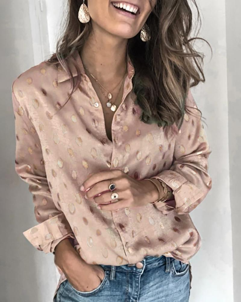 Dot Print Long Sleeve Casual Shirt фото