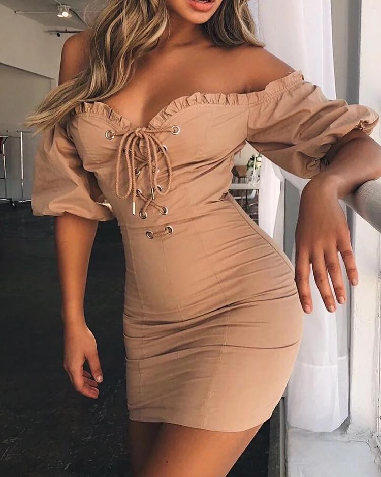 Fashion Frilled Lace-Up Eyelet Off Shoulder Dress фото