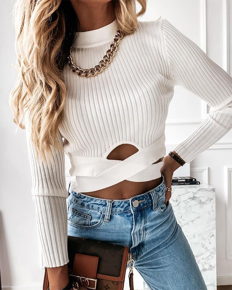 ivrose / Suéter ajustado de manga larga con aberturas lisas