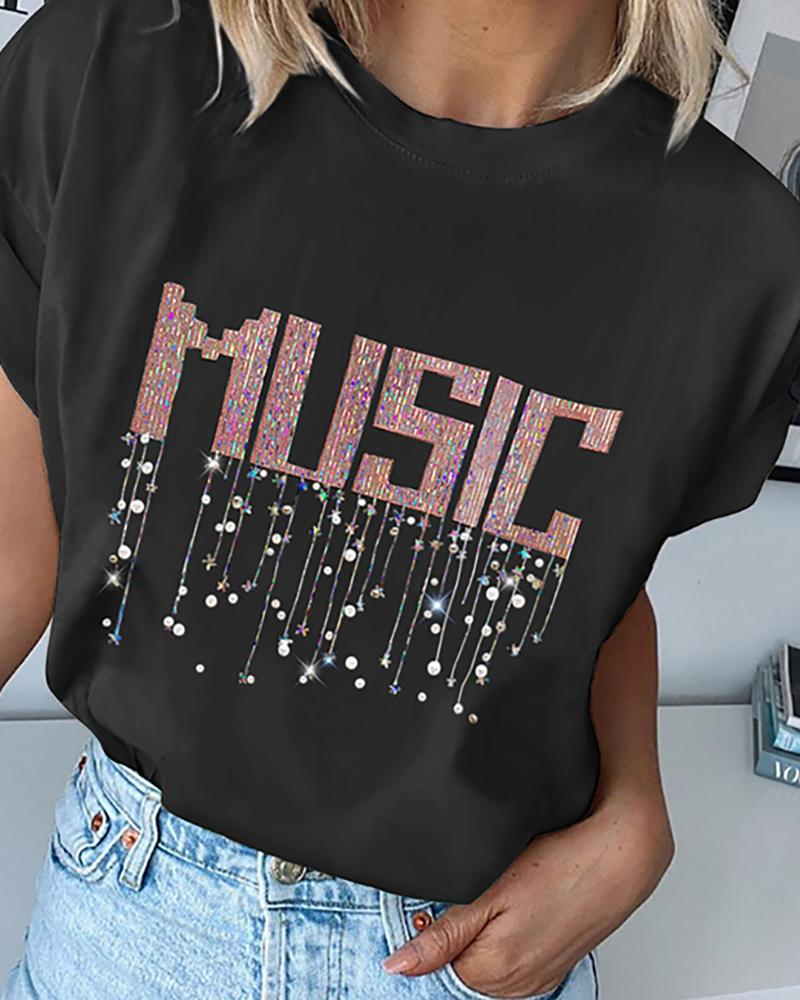 Sequins Letter Round Neck Casual T-shirt фото