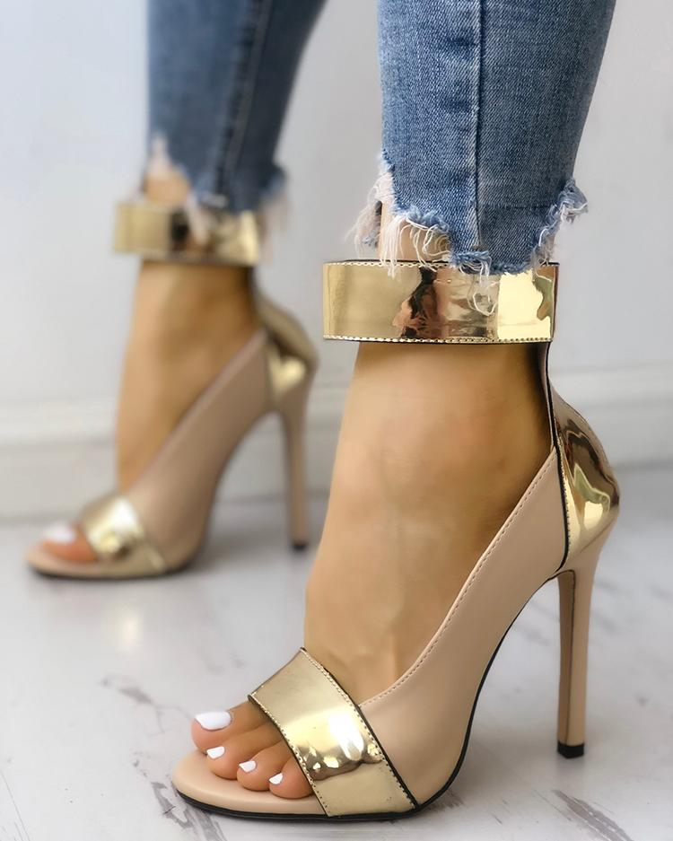 Colorblock Splicing Open Toe Thin Heeled Sandals
