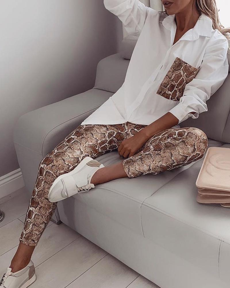 ivrose / Snake Contrast Pocket Top y Pantalones