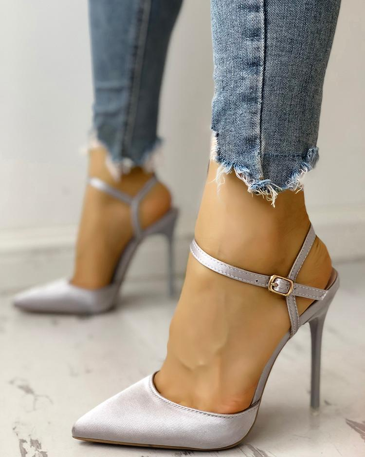 Satin Ankle Buckle Pointed Toe Thin Heeled Sandals, Gray