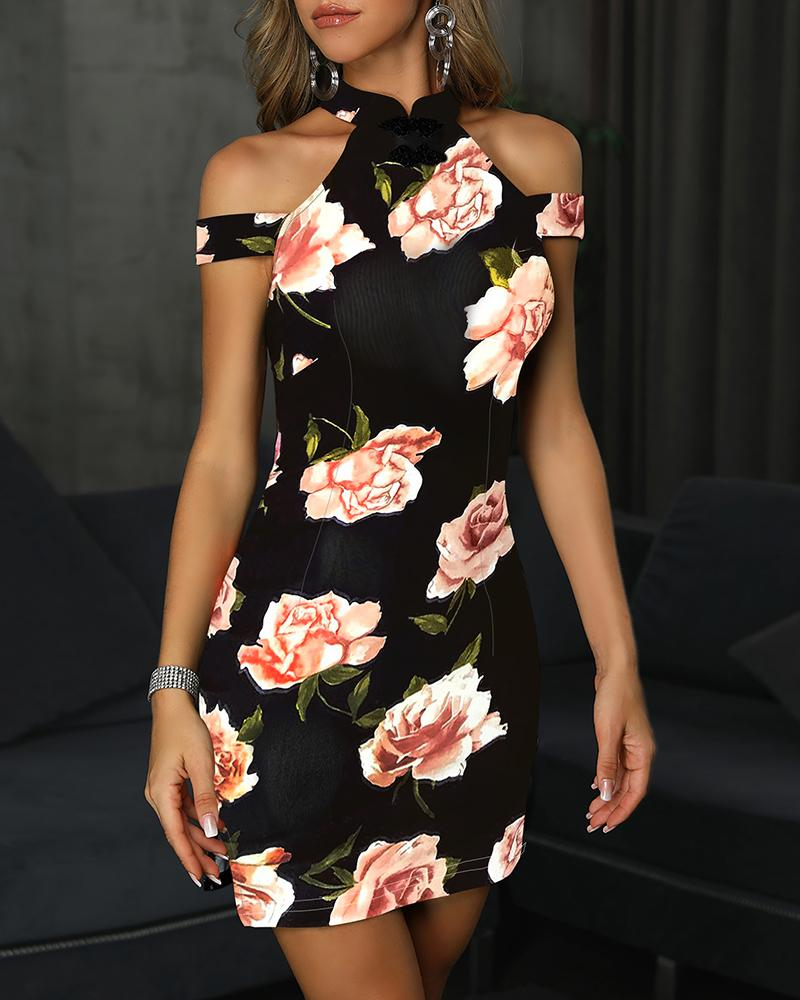 Floral Print Cold Shoulder Bodycon Dress, Pink