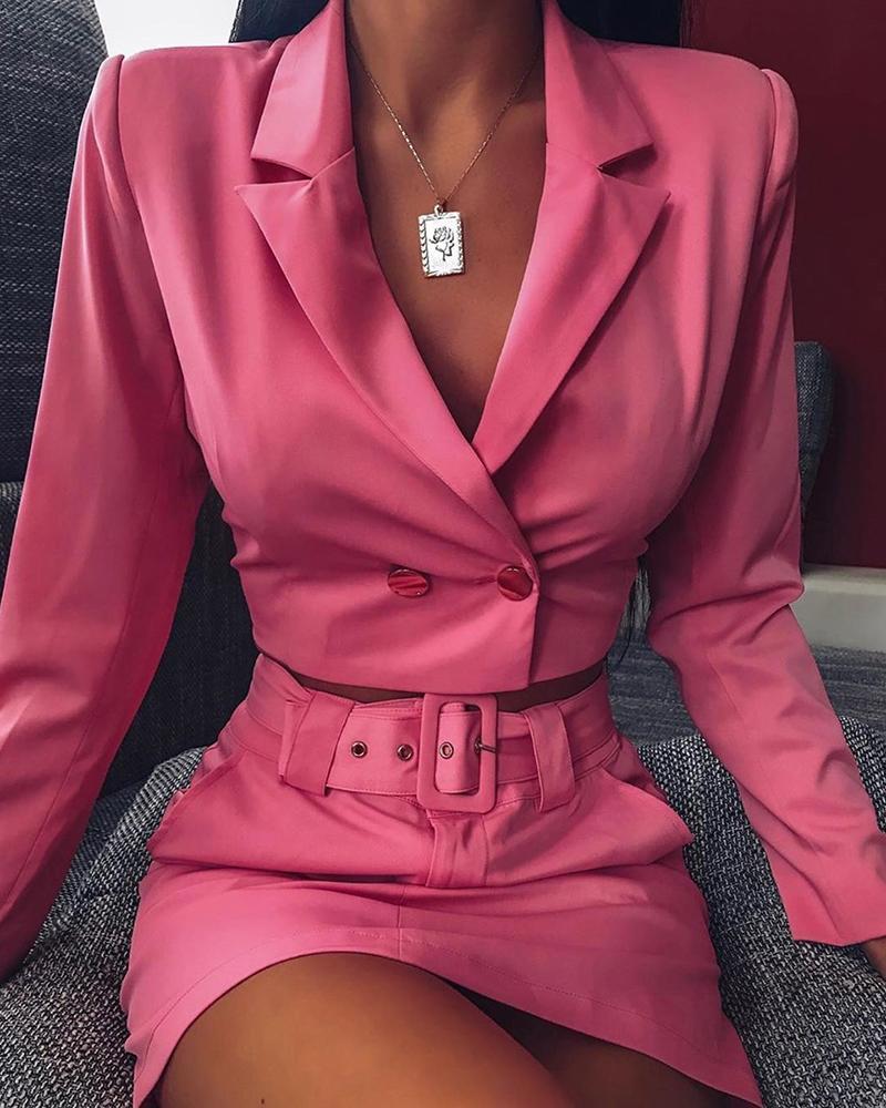 ivrose / Solid Buttoned Blazer Top & Belted Slinky Skirt Sets