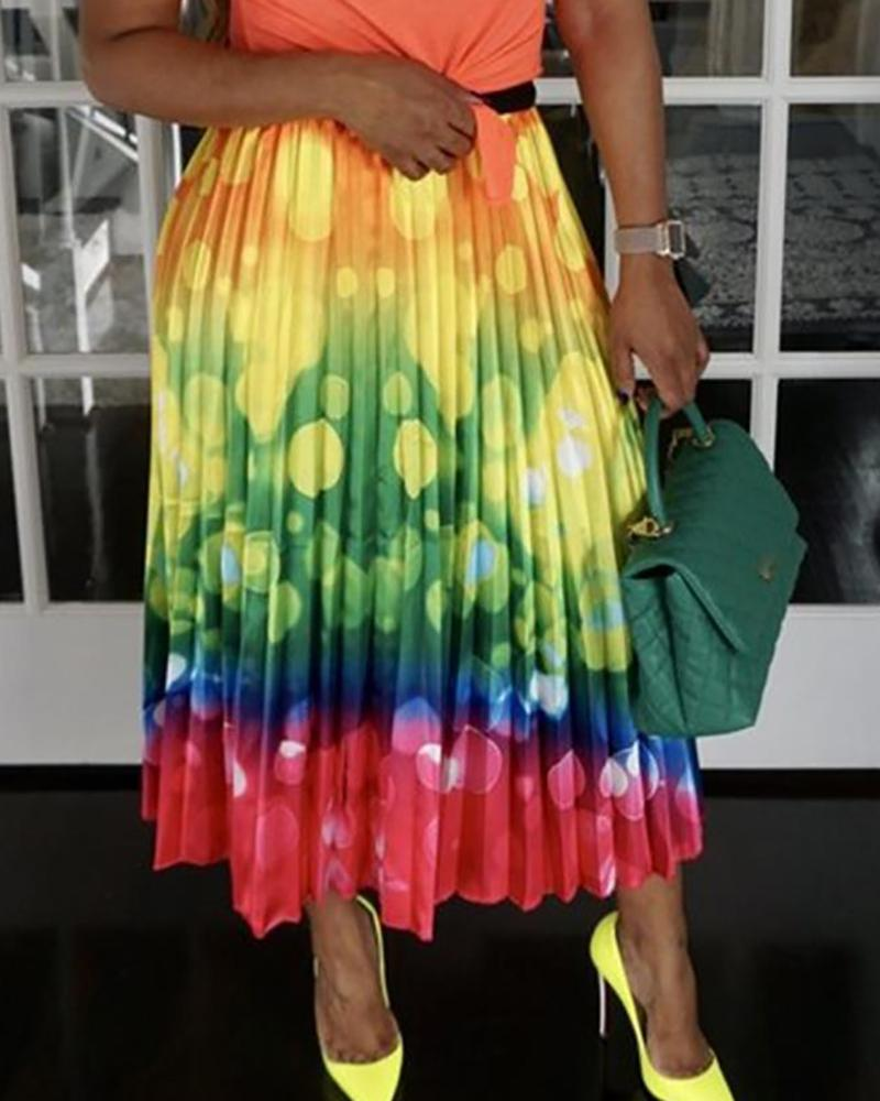 High Waist Colorful Print Pleated Skirts, Multicolor