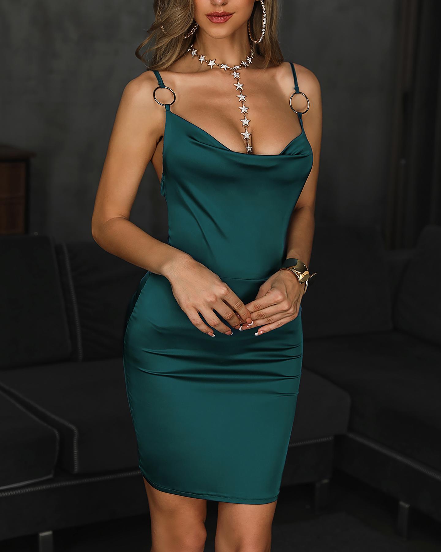 Cowl Neck O-Ring Spaghetti Strap Bodycon Dress фото