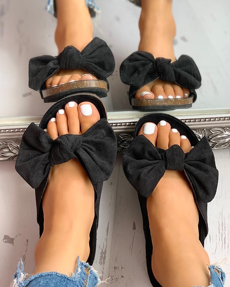 Bowknot Design Slingback Flat Slipper Sandals фото