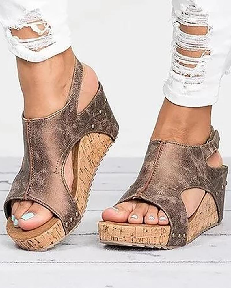 Peep-toe Slingback Platform Wedge Sandals, Brown