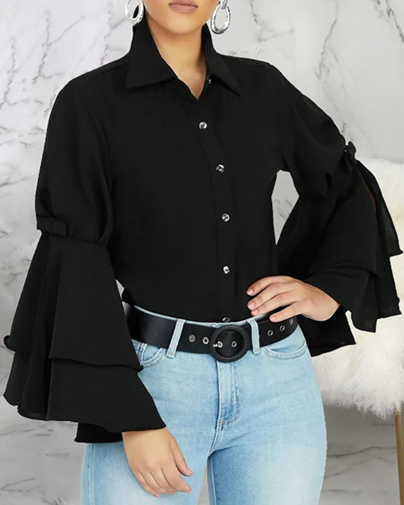 Solid Turn-down Collar Layered Ruffles Sleeve Buttoned Shirt фото