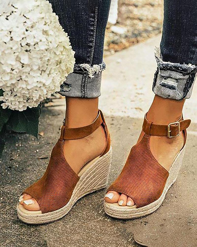 ivrose / Suede Hollow Out Espadrille Wedge Sandals