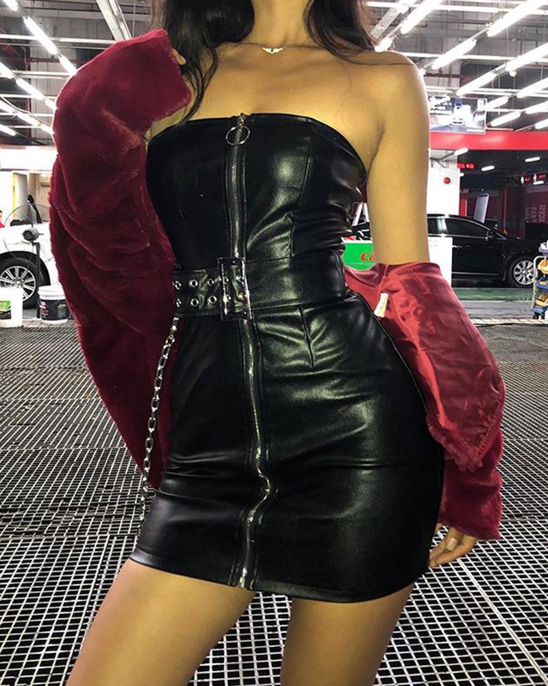 boutiquefeel / Leatherette Black Zip Dress
