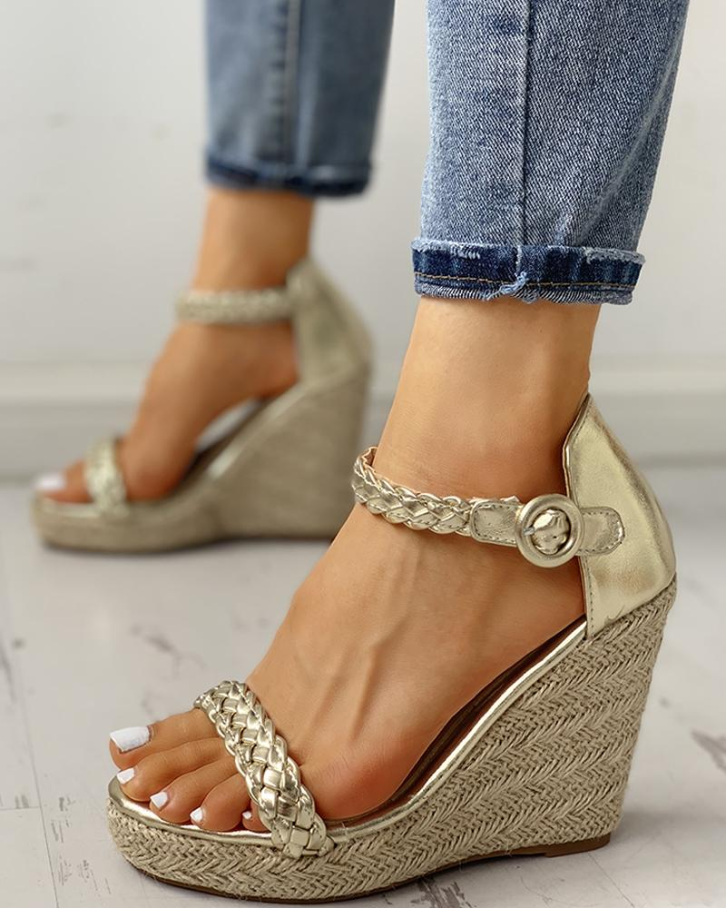 Braided Detail Platform Espadrille Wedge Sandals