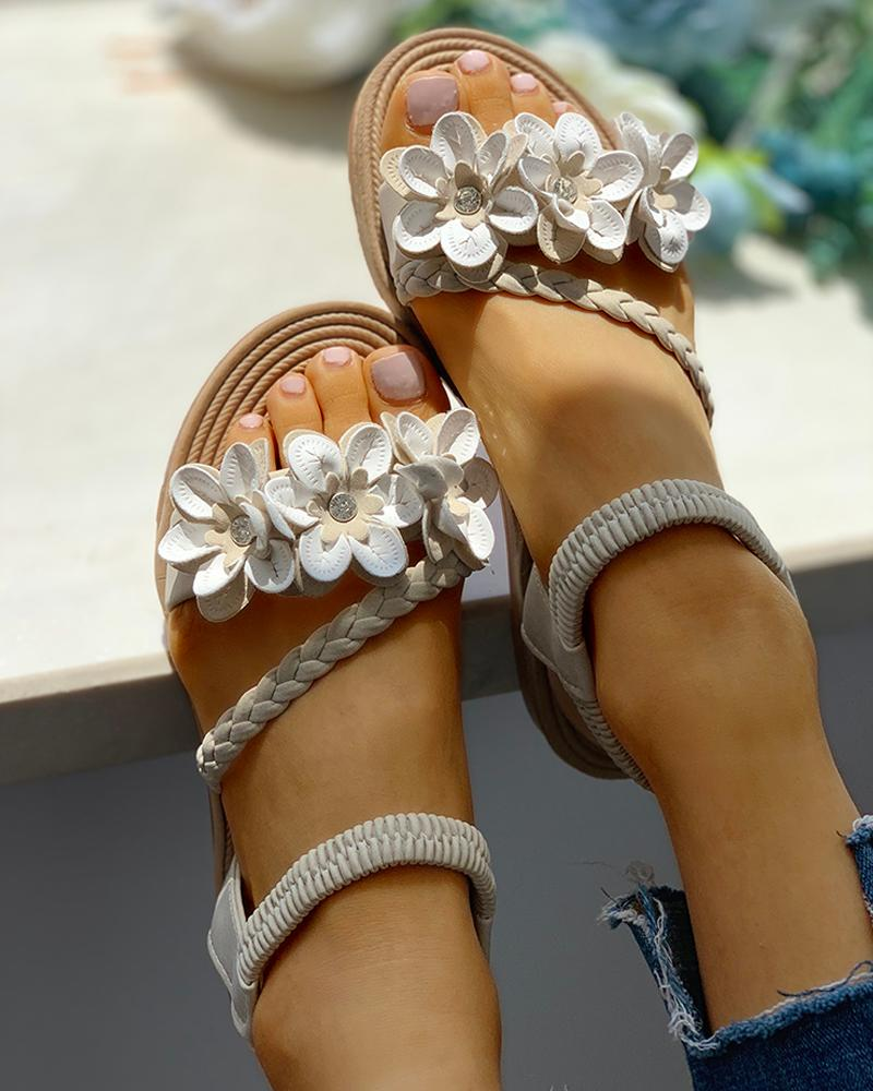 Flower Embellished Stud Braided Detail Sandals фото