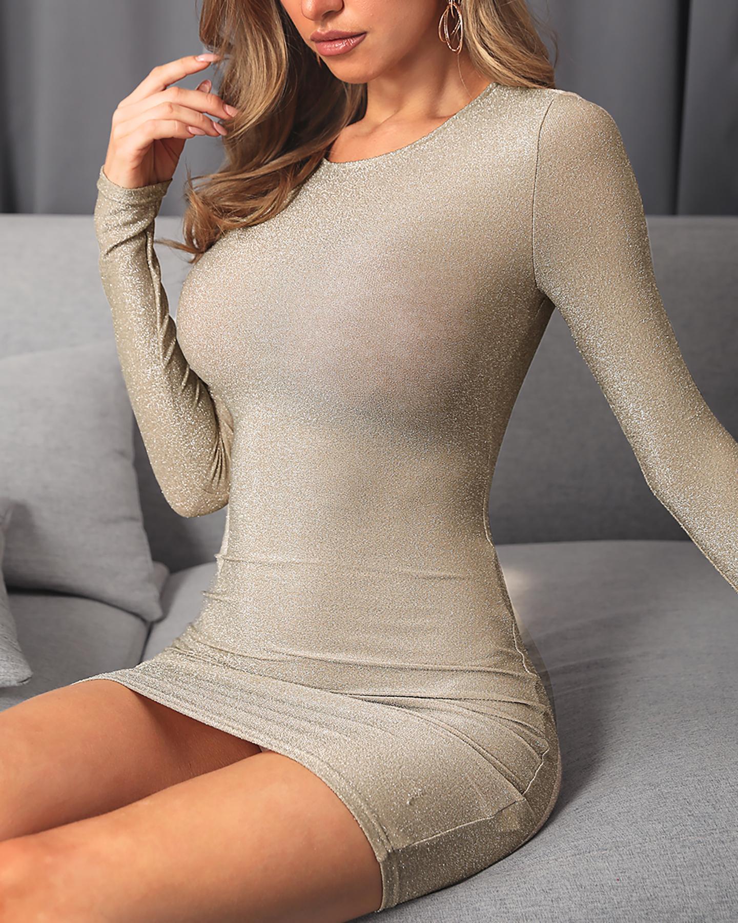Glitter Long Sleeve Bodycon Dress фото