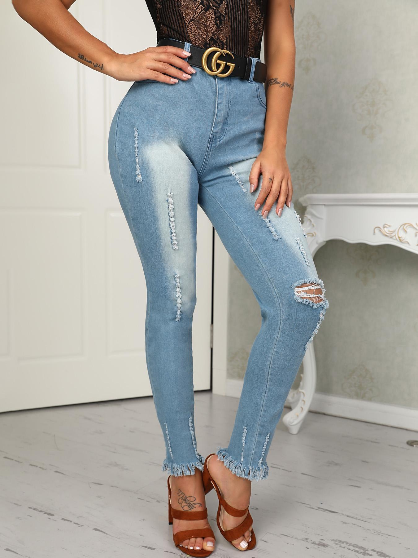 chicme / Skinny Holey Fringe Hem Jeans De Cintura Alta
