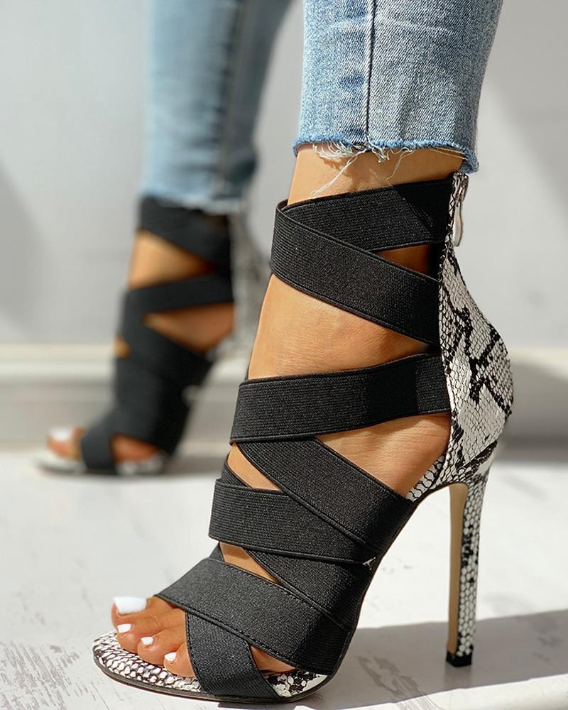 ivrose / Lace-Up Bandage Patchwork Snakeskin Thin Heeled Sandals