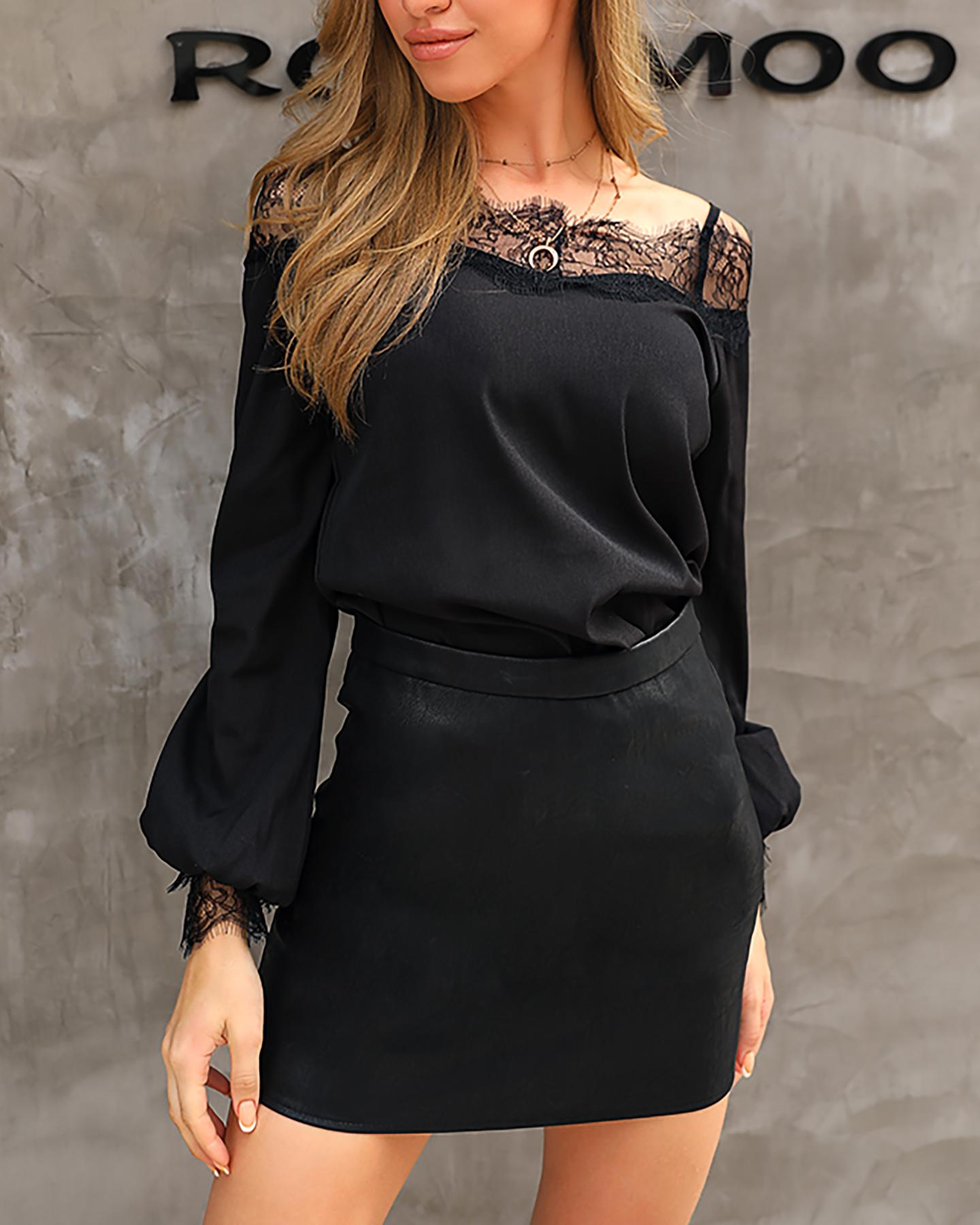 Eyelash Lace Cold Shoulder Blouse фото