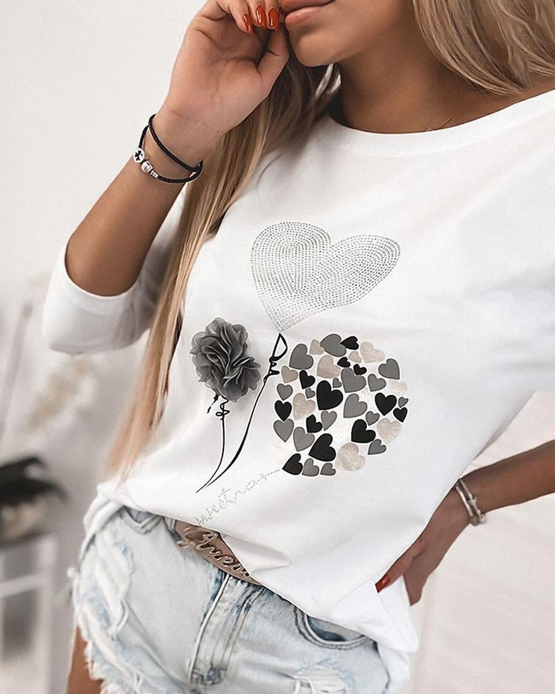 Heart Print Studded Long Sleeve Casual T-shirt фото