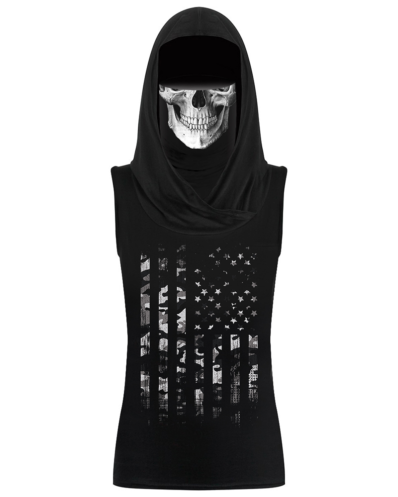 Skull&Flag Print Hooded Tank Top With Ear Loop Face Bandana фото