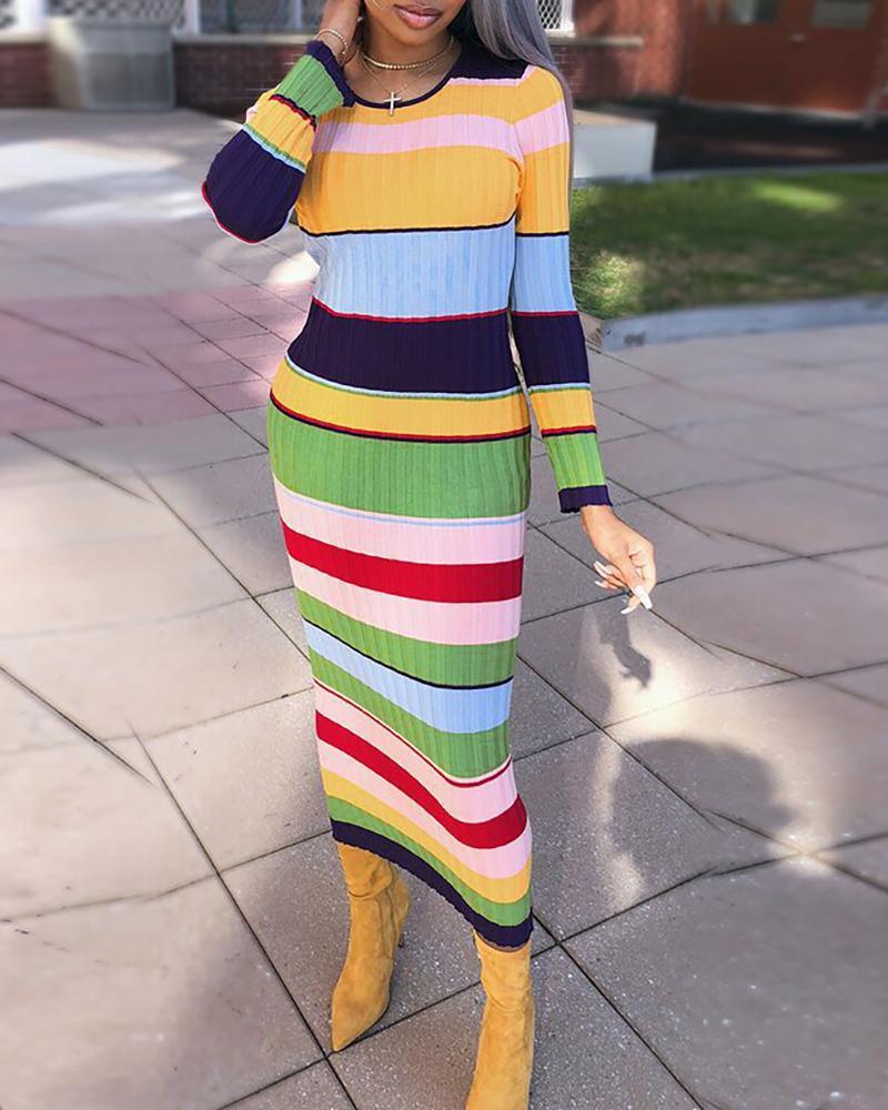 Colorblock Insert Striped Ribbed Dress фото