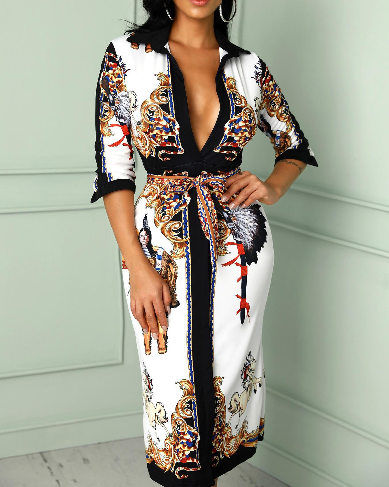 Scarf Print Self Belted Casual Dress фото