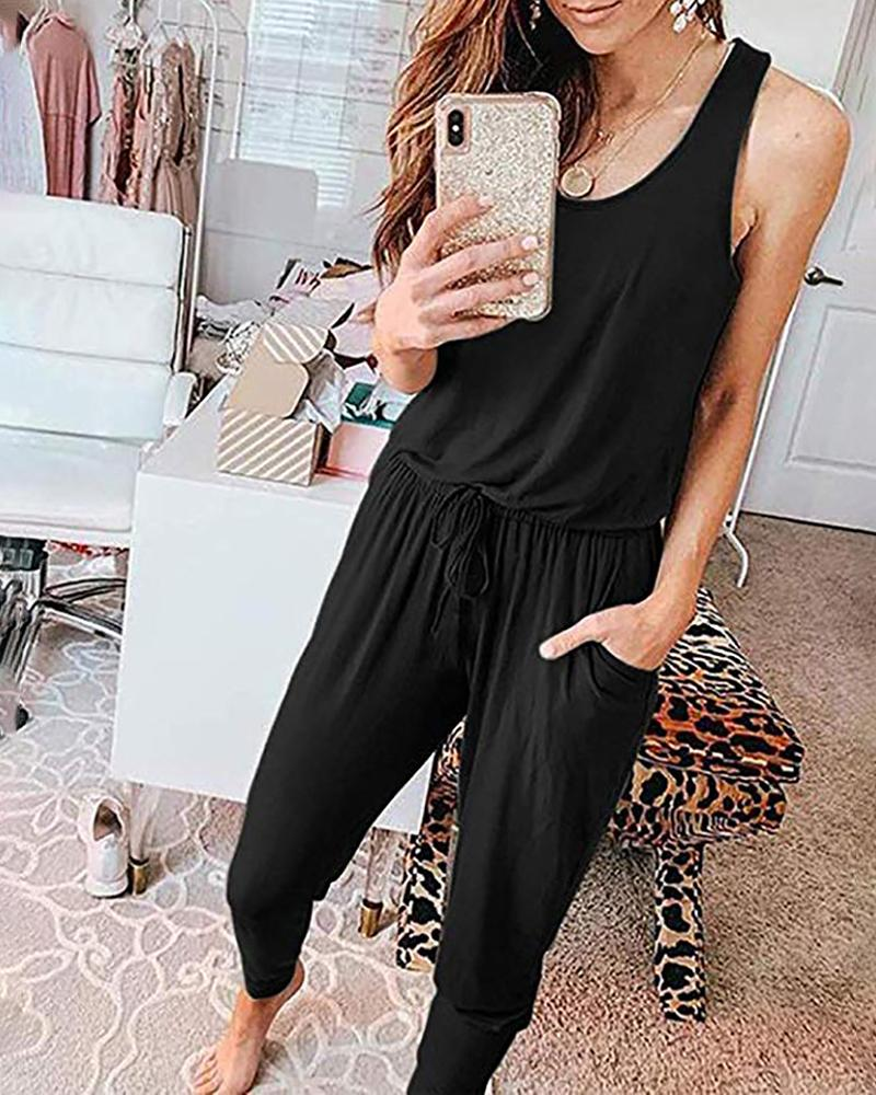 Solid Thick Strap Pocket Design Jumpsuit фото