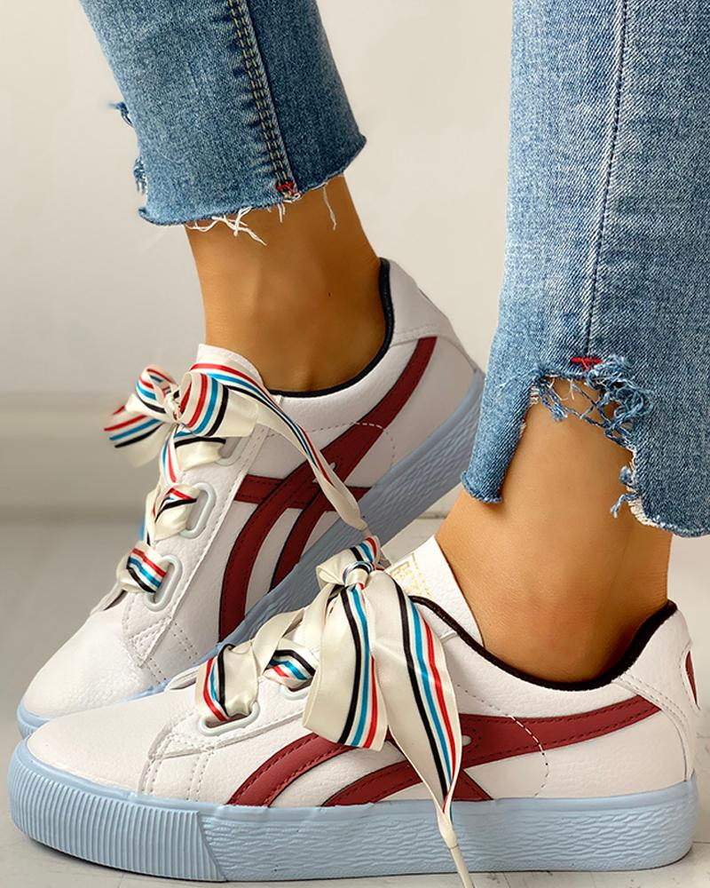 Colorful Ribbon Lace-Up Casual Sneakers фото