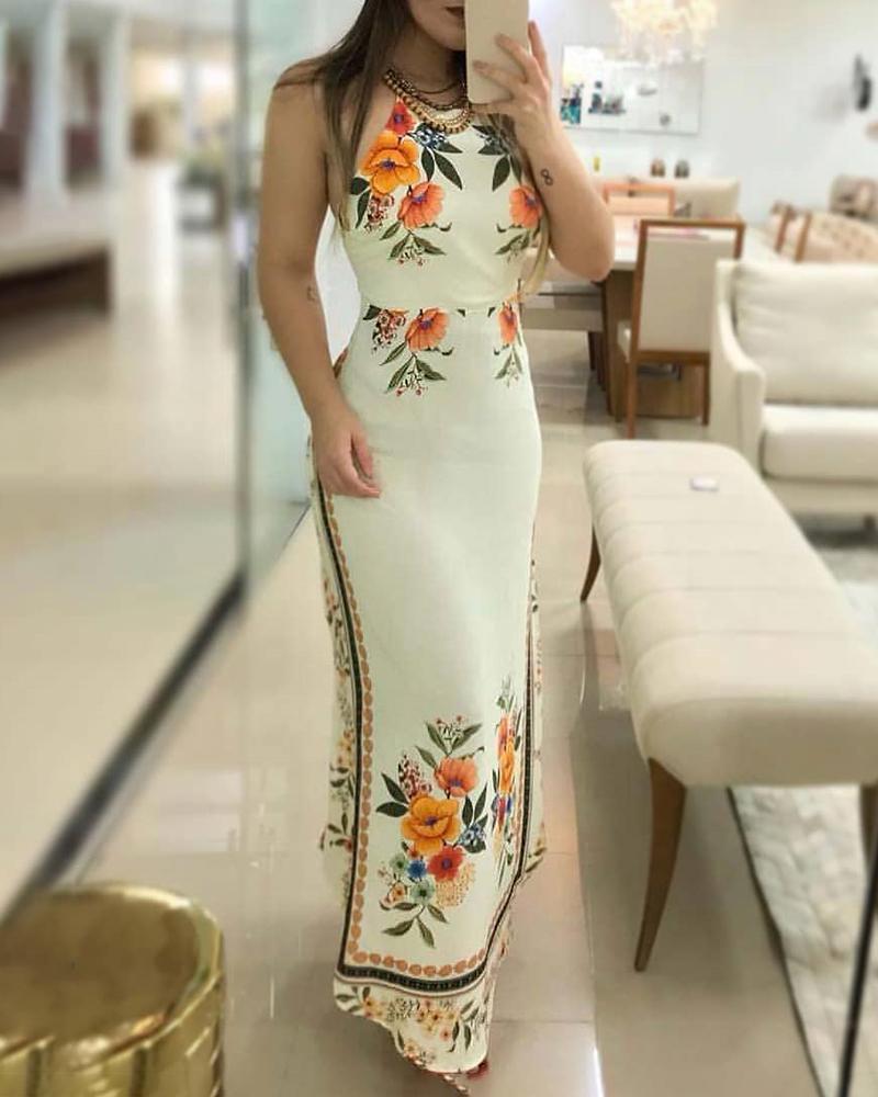 chicme / Vestido largo con estampado floral de cabestro